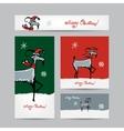 Funny goat santa Christmas cards 2015 design vector image vector image
