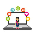 girl using cellphone sitting on laptop social vector image vector image