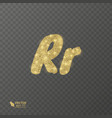 golden shiny letter r on a transparent background vector image