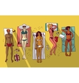 Group women relax beach summer vacation flat vector image