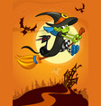 halloween with cute witch flying on her broom on vector image vector image