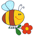 happy bee flying with flower vector image vector image