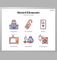 hostel elements linecolor pack vector image