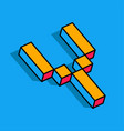 isometric y letter y 3d logo vector image