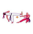 japanese karate fight or battle in game vector image vector image
