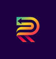 letter r logo with arrow inside vector image vector image