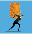 man business carrying coins money vector image