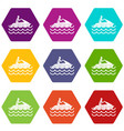 man on jet ski rides icon set color hexahedron vector image vector image