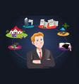 man thinking about future financial plan vector image vector image