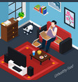 man with overweight isometric composition vector image vector image
