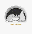 merry christmas 3d layered paper art greeting vector image