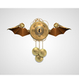 metallic banner locket with wings a keyhole and vector image vector image