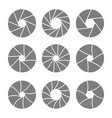monochrome icons with camera shutter symbols vector image vector image