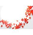 paper art concept red and orange autumn leaves vector image