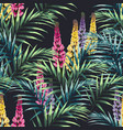 pattern with paradise flowers and exotic leaves vector image vector image