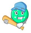 playing baseball circle character cartoon style vector image