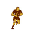 Rugby Player Running Ball Woodcut vector image vector image