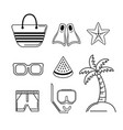 set activities to do in the beach and summer days vector image