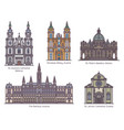 set cathedral line architecture in color vector image