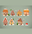 set cute gingerbread houses with christmas vector image