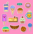 set of kawaii food characters sweets and vector image