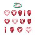 sheet of sprites rotation of cartoon 3d heart vector image vector image