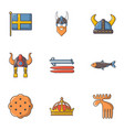 sweden history icons set cartoon style vector image vector image