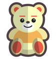 teddy bear kids toy flat isolated vector image