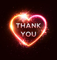 thank you card 3d realistic isolated neon sign vector image