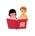 two happy kids children reading book together vector image vector image