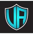va logo monogram with shield shape isolated blue vector image vector image