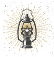 vintage kerosene lamp with light lines design vector image