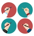 Writting flat icons set vector image