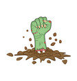zombie hand fist gesture out of ground halloween vector image