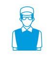delivery man in blue uniform with glasses and vector image