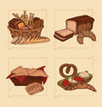 bakery hand drawn compositions vector image vector image