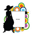 banner with girl pretty on it silhouette vector image vector image