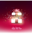 Beautiful open Christmas gift with red bow and vector image vector image