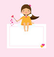 blank card with cute cupid girl fairy design vector image vector image