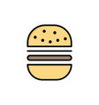 burger fast food fast food flat color icon icon vector image vector image