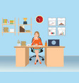 businesswoman talking on the phone in office vector image
