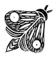 butterfly linocut handmade black color isolated vector image