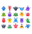 cartoon monster cute happy monsters halloween vector image