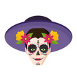 catrina with hat mexican culture vector image