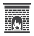 christmas fireplace glyph icon new year christmas vector image vector image