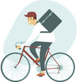 courier bicycle delivery man with parcel box vector image
