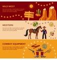 Cowboy banners flat vector image vector image