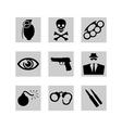 crime icons vector image vector image