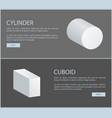 cylinder and cuboid white geometric shapes set vector image