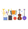 different folk musical instruments flat vector image